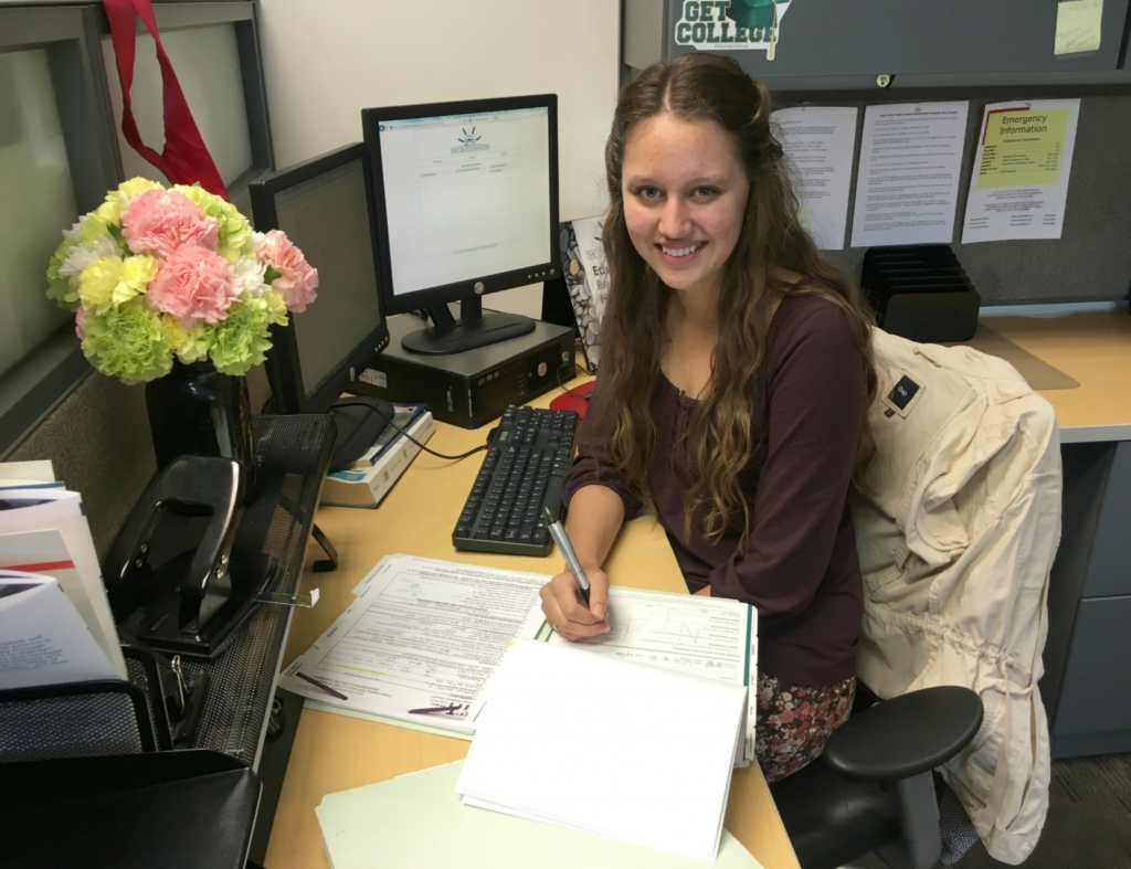 Tierra Colberg, TCF's Summer 2016 Intern, hard at work supporting the education of Alaska Native people.
