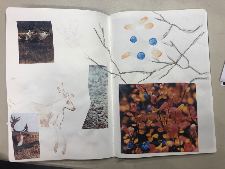 Erin Gingrich's Yukon river wildlife habitat inspired sketchbook.