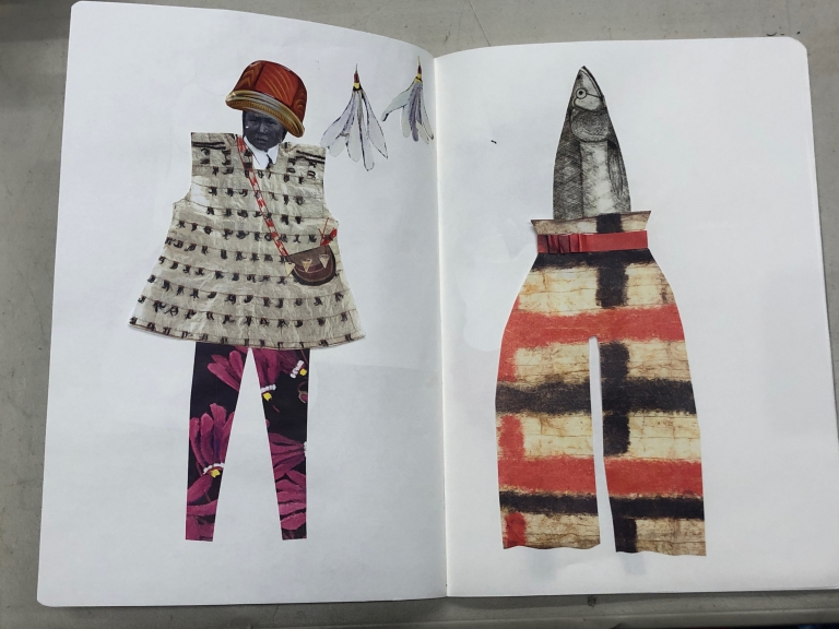 Coral Chernoff's St. Lawrence Island gutskin parkas and Arctic flora inspired sketchbook.